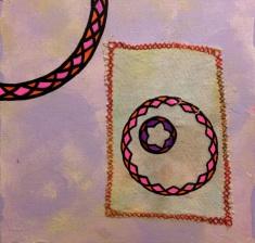 "I Often Dream in Circles. Acrylic, oil pen, photo transfer, cotton, 10"" x 10"""
