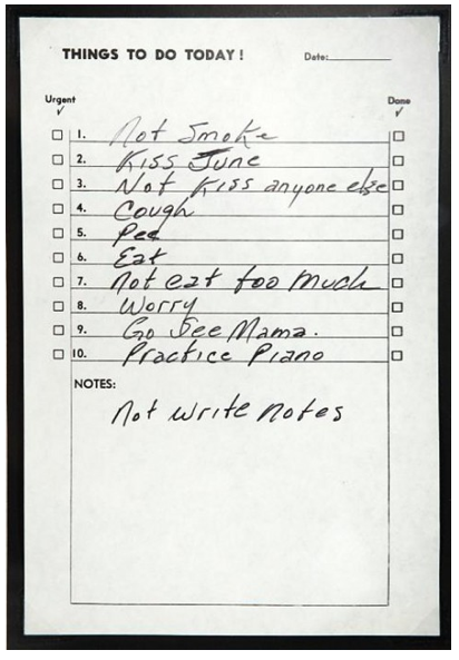 Johnny Cash To Do List