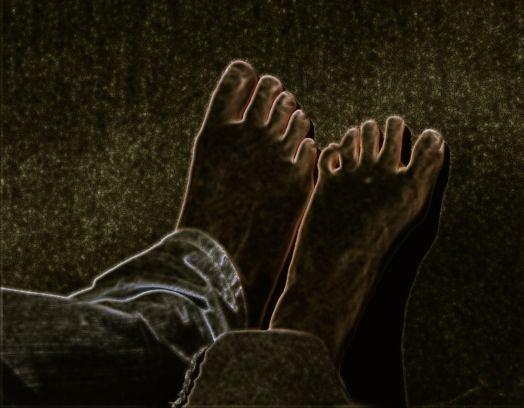 neon photo of feet