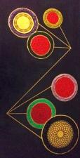 "Sextet. Acrylic, vellum, and oil pen. 12"" x 24"""