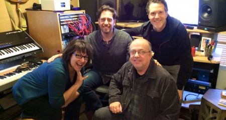 Day 1 wraps up with (left to right), me, Dan Barrett (producer), Rick Richards (drums), and Eric Holden (bass).