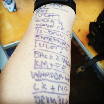 """Here's the Clash's """"Magnificent Seven"""" in cheat sheet form on my arm. Didn't need it, but that's probably because I had it."""