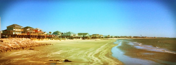 Surfside Beach, TX in late February. It's about 70 degrees and pretty darned perfect.