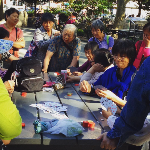 No one outside of a casino plays cards with greater purpose than these women (Chinatown)